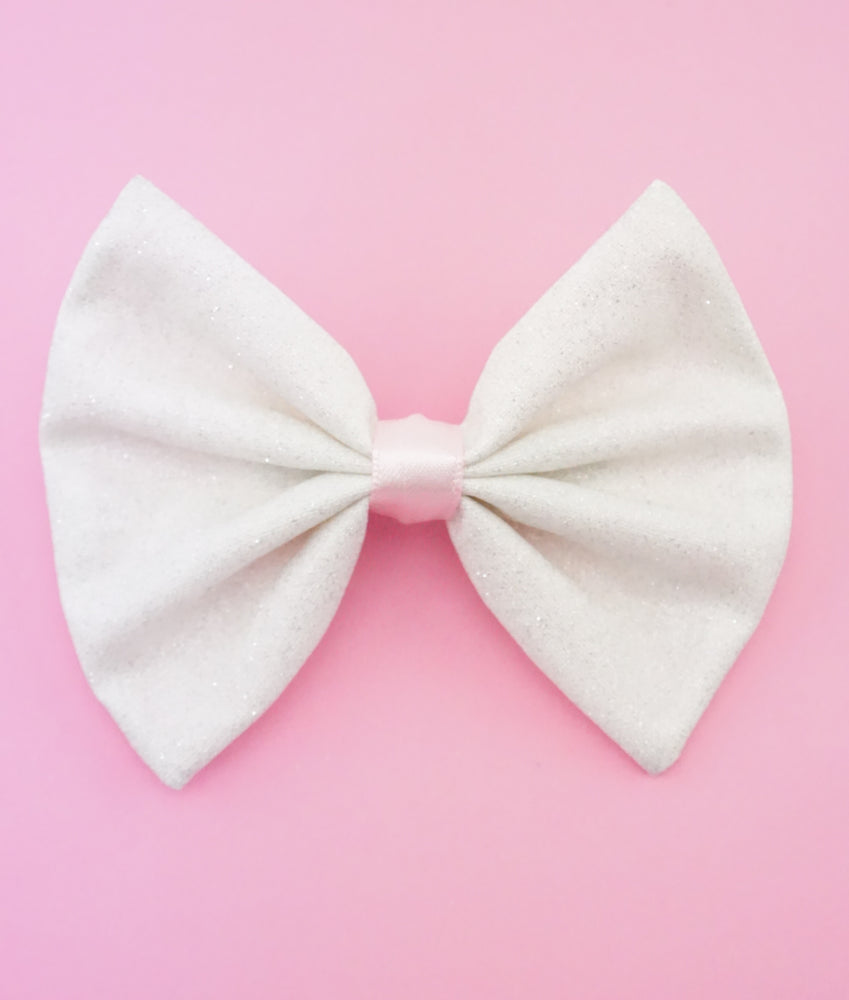 White with Silver Glitter Medium Fabric Hair Bow - Sparkly Kawaii Hair Clip