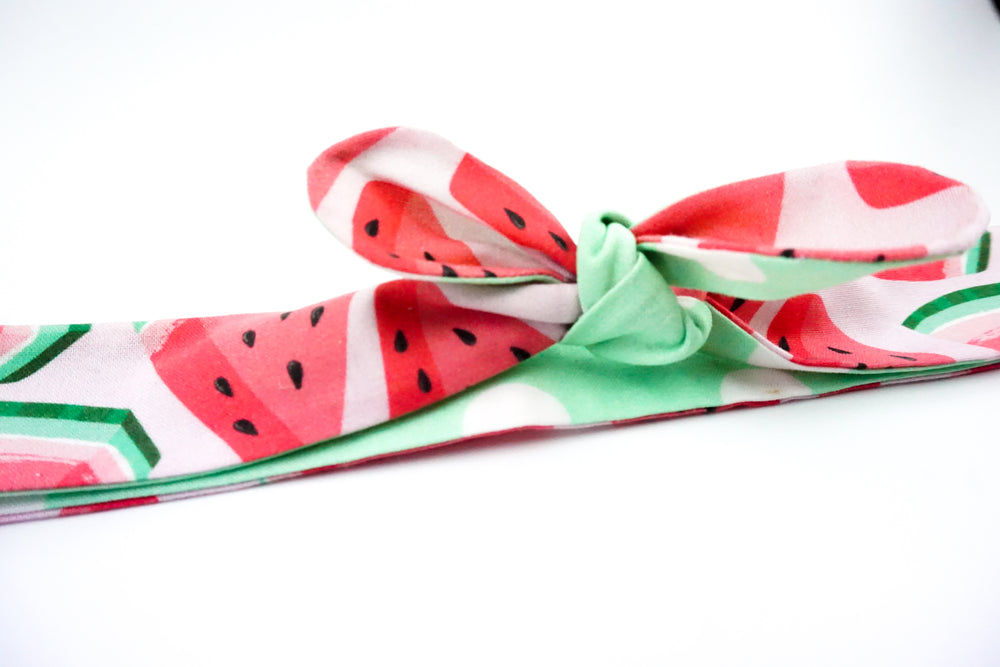 Watermelon and Mint Green Polkadot Handmade Reversible Head Tie