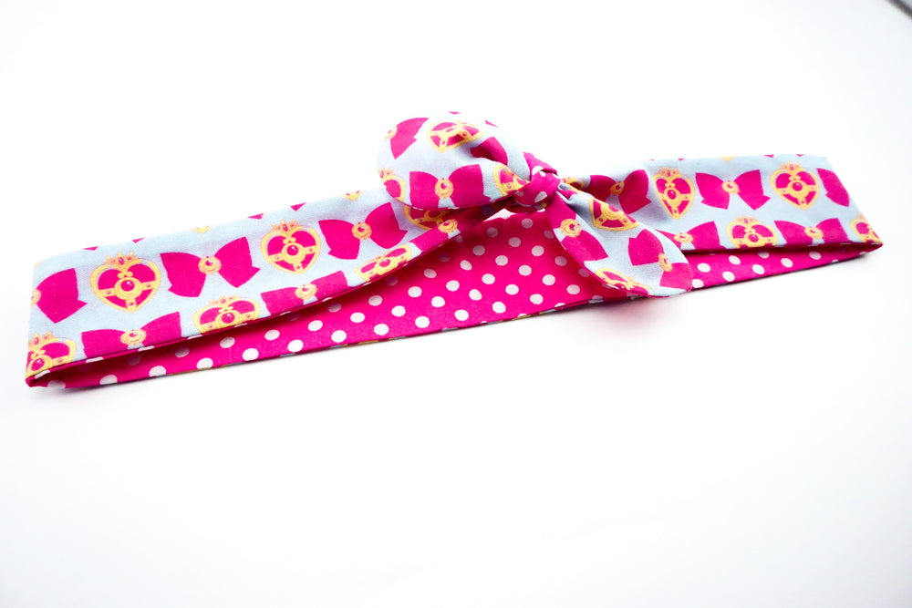 Sailor Moon Blue and Hot Pink Handmade Reversible Head Tie with Hot Pink Polka Dot