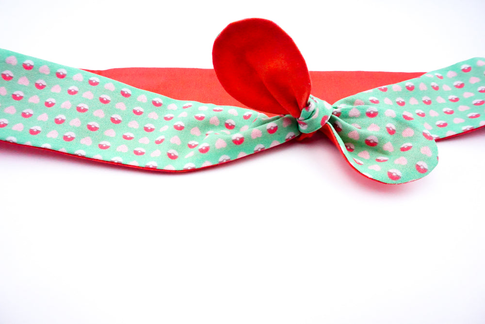 Kawaii Mint Pokeball and Hearts Reversible Fabric Head Tie with Coral Reverse Side