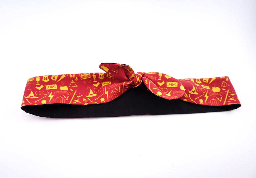 Red Harry Potter Icons Handmade Reversible Head Tie Deathly Hallows Accessory