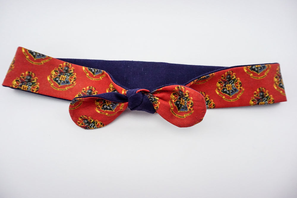 Hogwarts Crest Red and Navy Handmade Reversible Head Tie