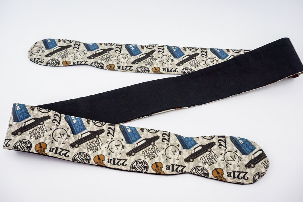 Fandom Inspired -Sherlock Supernatural Dr Who Print Reversible Head Tie with Black