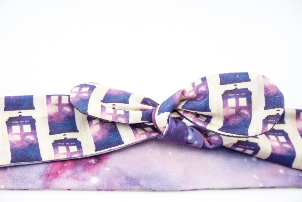Doctor Who TARDIS and Galaxy Print Reversible Head Tie with Galaxy Print Police Box