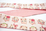 Jigglypuff Kawaii Printed Reversible Fabric Head Tie with Dusty Pink Dot