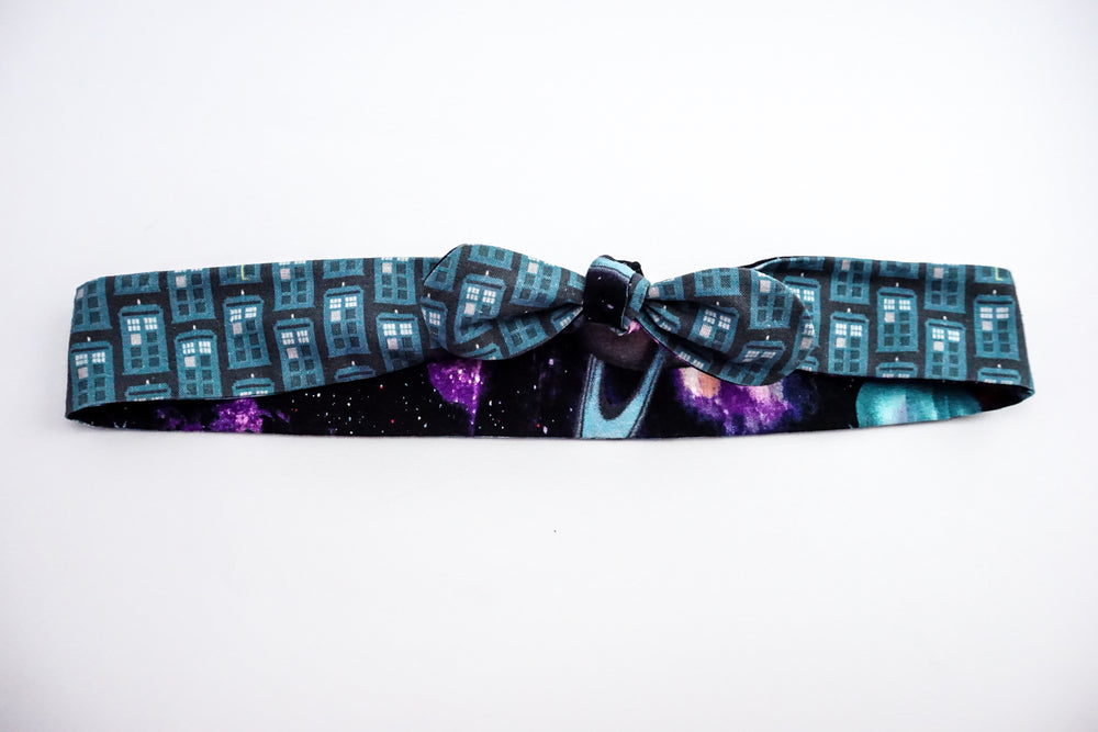 Doctor Who Dark Blue TARDIS and Galaxy Print Reversible Head Tie with Galaxy Print Police Box