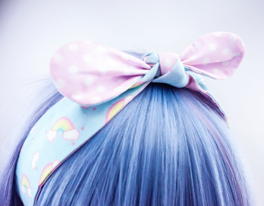 Kawaii Pastel Blue Rainbow & Clouds Reversible Fabric Head Tie with Pink Dots
