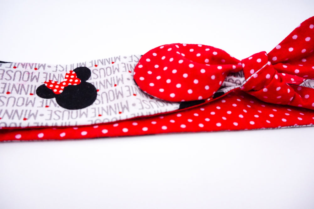 Minnie Print with Red and White Polka Dot Handmade Reversible Head Tie