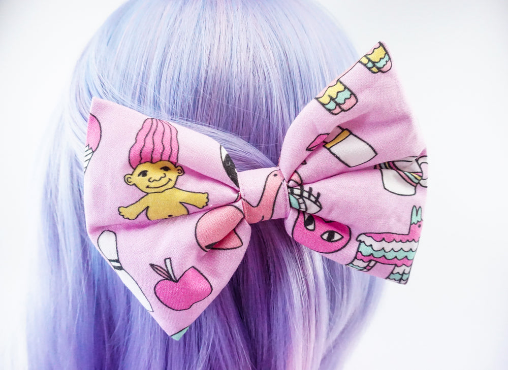 Cute Pink Retro Patches Flair Pin Print Handmade Large Hair Bow Hair Clip