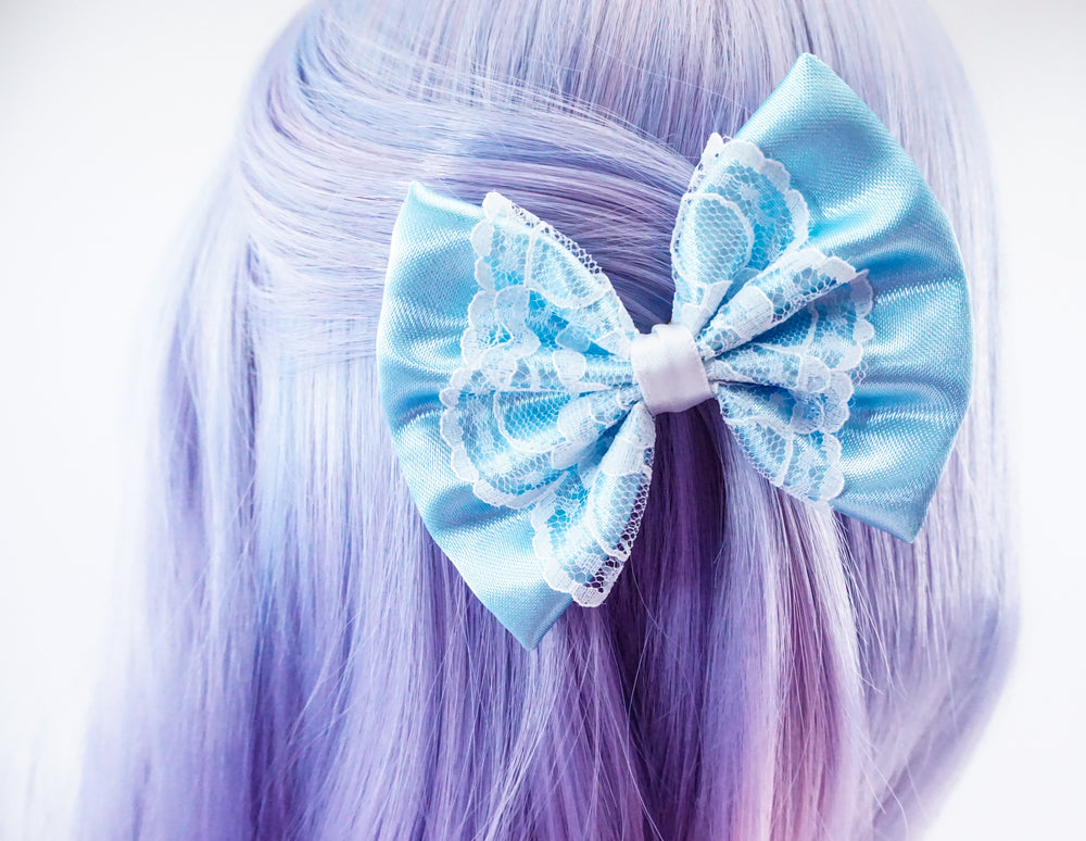 Cinderella Inspired Satin Blue and White Lace Overlay Fabric Hair Bow