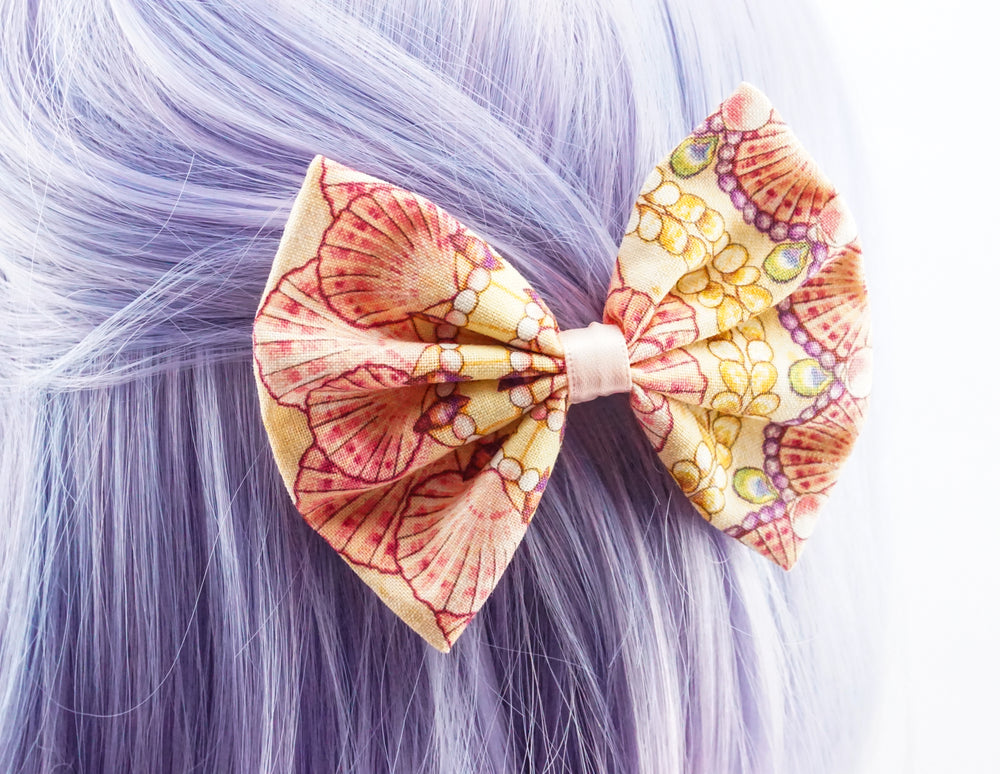Seashell Print Mermaid Fabric Hair Bow - Soft Apricot Mermaid Hair Clip