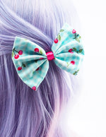 Light Blue and White Check Gingham with Hot Pink Cherries Medium Hair Bow