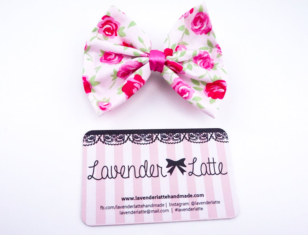 Soft Pink with Deep Pink Rose Print Medium Fabric Hair Bow - Floral Hair Clip Accessory