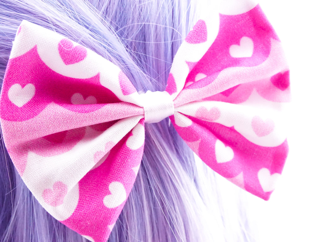 Pink & White Scallop Print with Hearts Handmade Medium Hair Bow Hair Clip