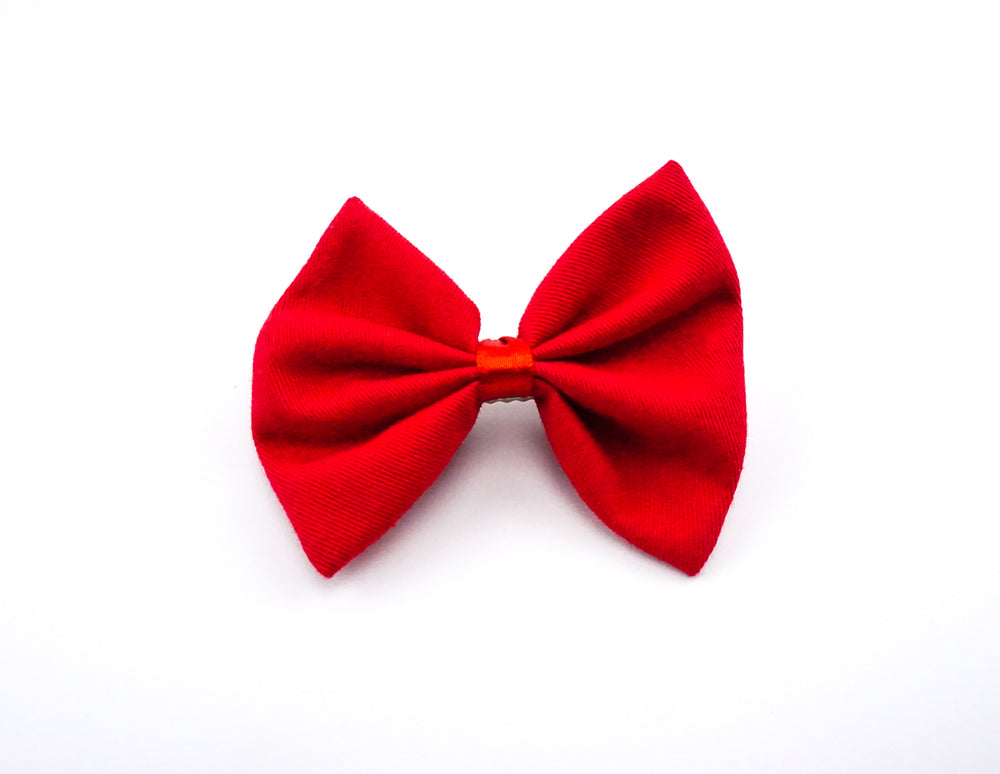Red Fabric Medium Hair Bow - Solid Colour Hair Clip