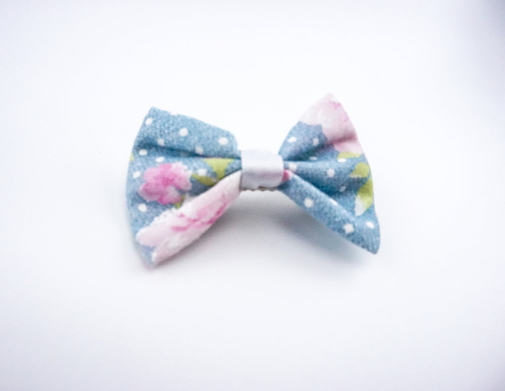 Light Blue with Pink Roses and Polkadots Small Fabric Hair Bow - Floral Hair Clip Accessory