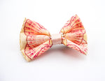 Seashell Print Small Fabric Hair Bow - Soft Apricot Mermaid Hair Clip