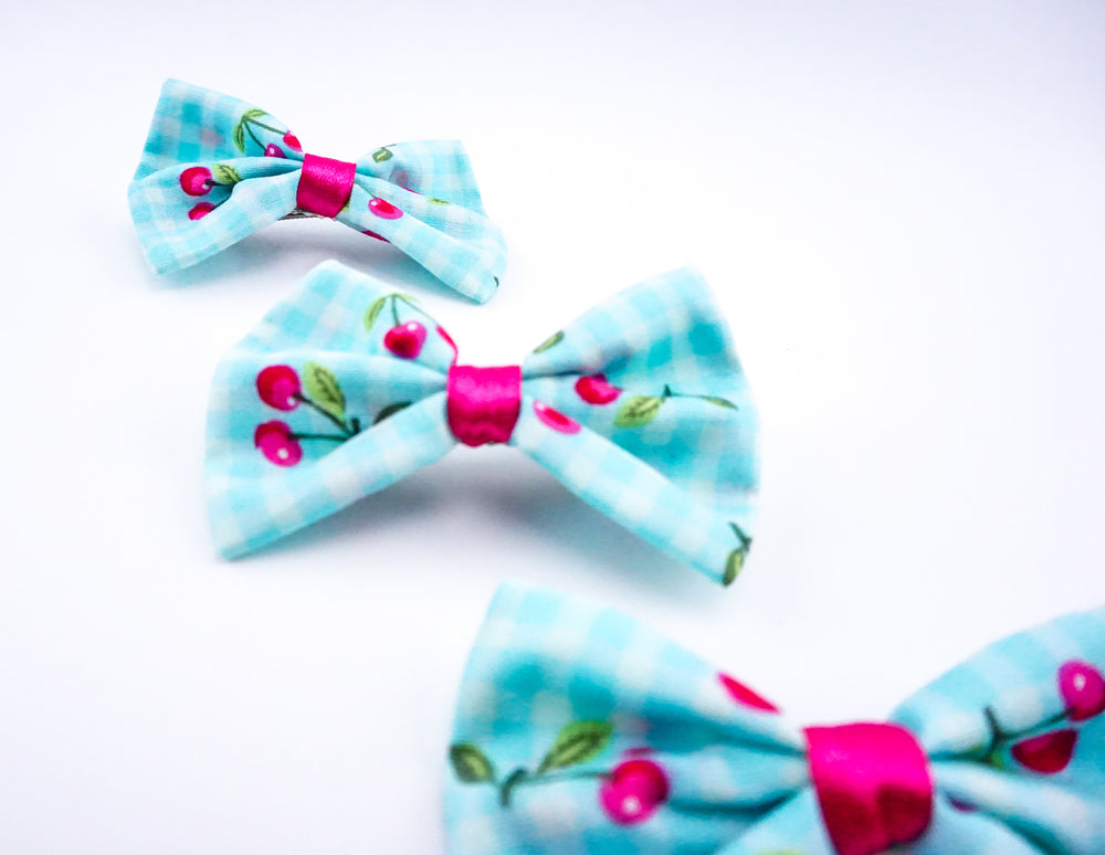 Light Blue and White Check Gingham with Hot Pink Cherries Small Hair Bow