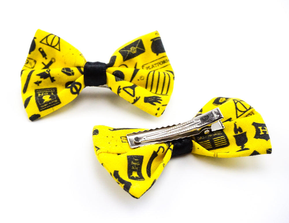 Yellow Hufflepuff Harry Potter Icons Fabric Small Fabric Hair Bow