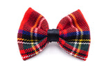 Red Tartan Small Fabric Hair Bow - Hair Clip