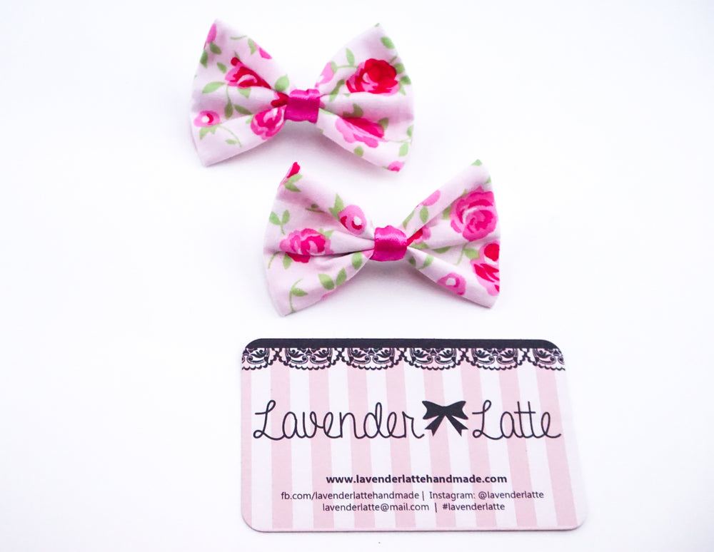 Soft Pink with Deep Pink Rose Print Small Fabric Hair Bow - Floral Hair Clip Accessory