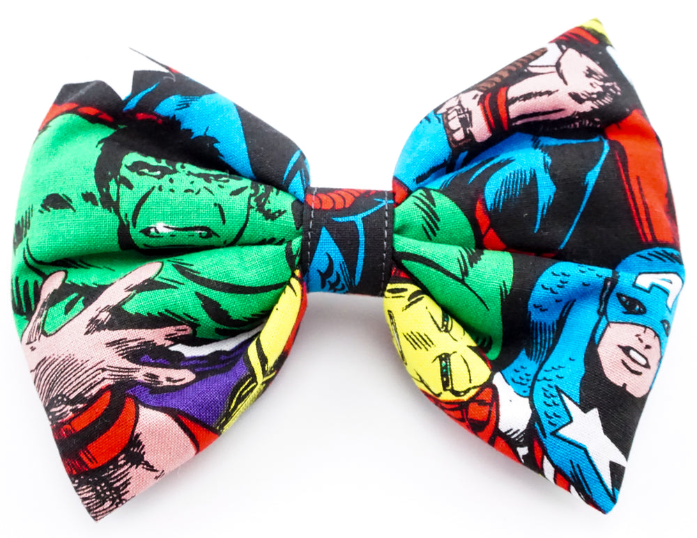 Avengers - Captain America-Hulk and Iron Man Print Large Hair Bow Geeky Girl Hair Clip