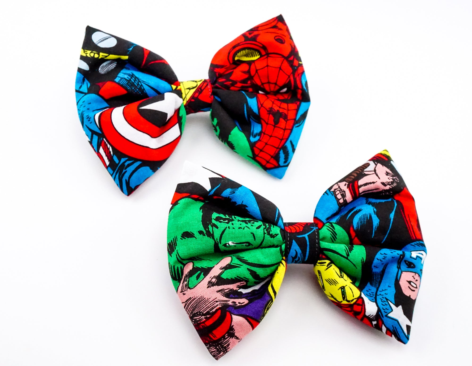 avengers - captain america-hulk and iron man print large hair bow