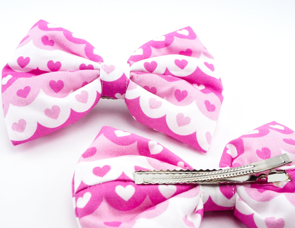 Pink & White Scallop Print with Hearts Handmade Large Hair Bow Hair Clip