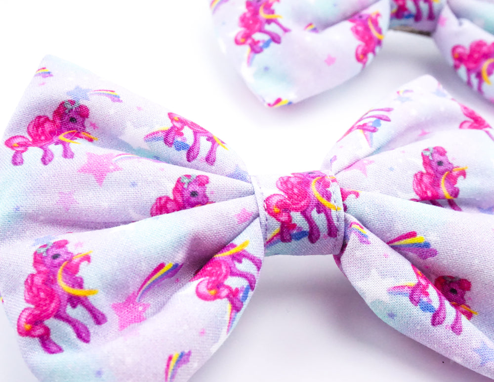 Kawaii Pony Galaxy with Stars and Rainbow Print Handmade Large Hair Bow Hair Clip