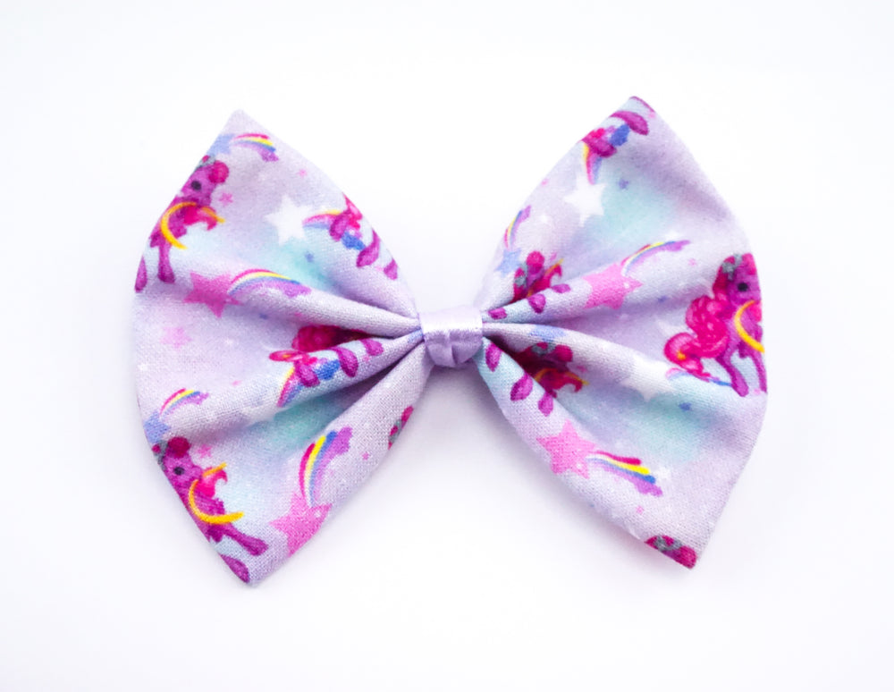 Kawaii Pony Galaxy with Stars and Rainbow Print Handmade Medium Hair Bow Hair Clip