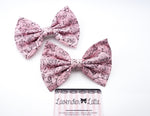 Pink Shaded Roses Handmade Print Large Hair Bow - Floral Hair Clip