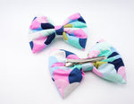 Multi-Coloured Scalloped Scales Handmade Mermaid Print Large Hair Bow - Hair Clip