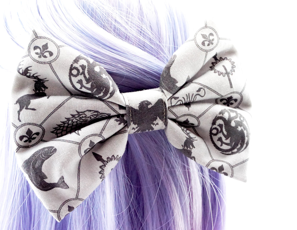 Game of Thrones Handmade Print Large Hair Bow - Grey and Black GoT Geeky Girl Hair Clip