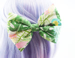 Tropical Inspired Print Large Handmade Hair Bow - Hair Clip