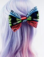 Star Wars Dark Blue with Neon Light Saber Fabric Large Hair Bow