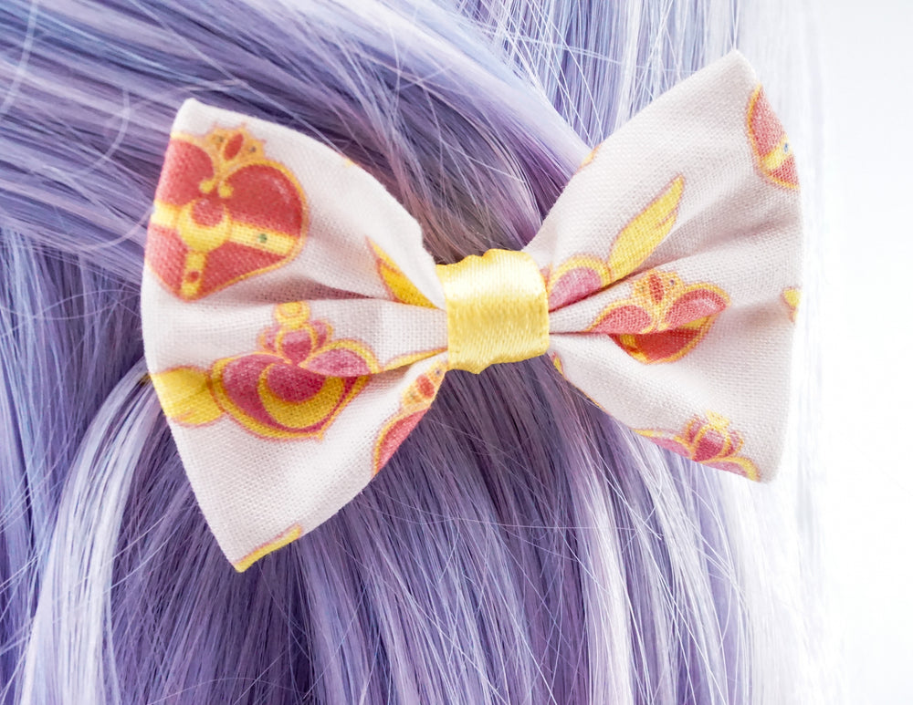 Sailor Moon Pink and Yellow 90s Kawaii Small Fabric Hair Bow