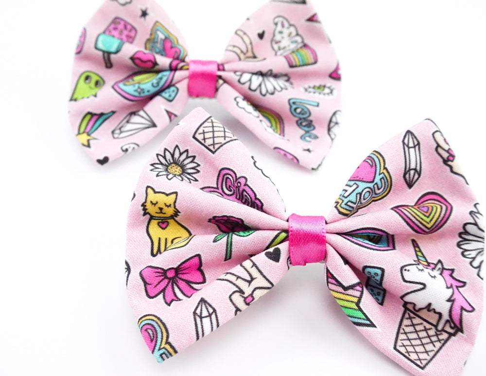 Pink Patches Flair Pin Print Handmade Medium Hair Bow Hair Clip
