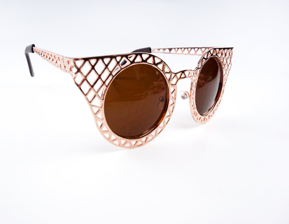 Rose Gold Metallic Ladies Sunglasses with Brown Lens