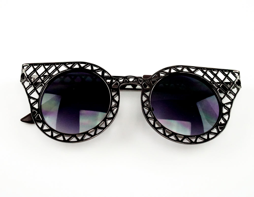 Black Metallic Ladies Sunglasses with Dark Lenses