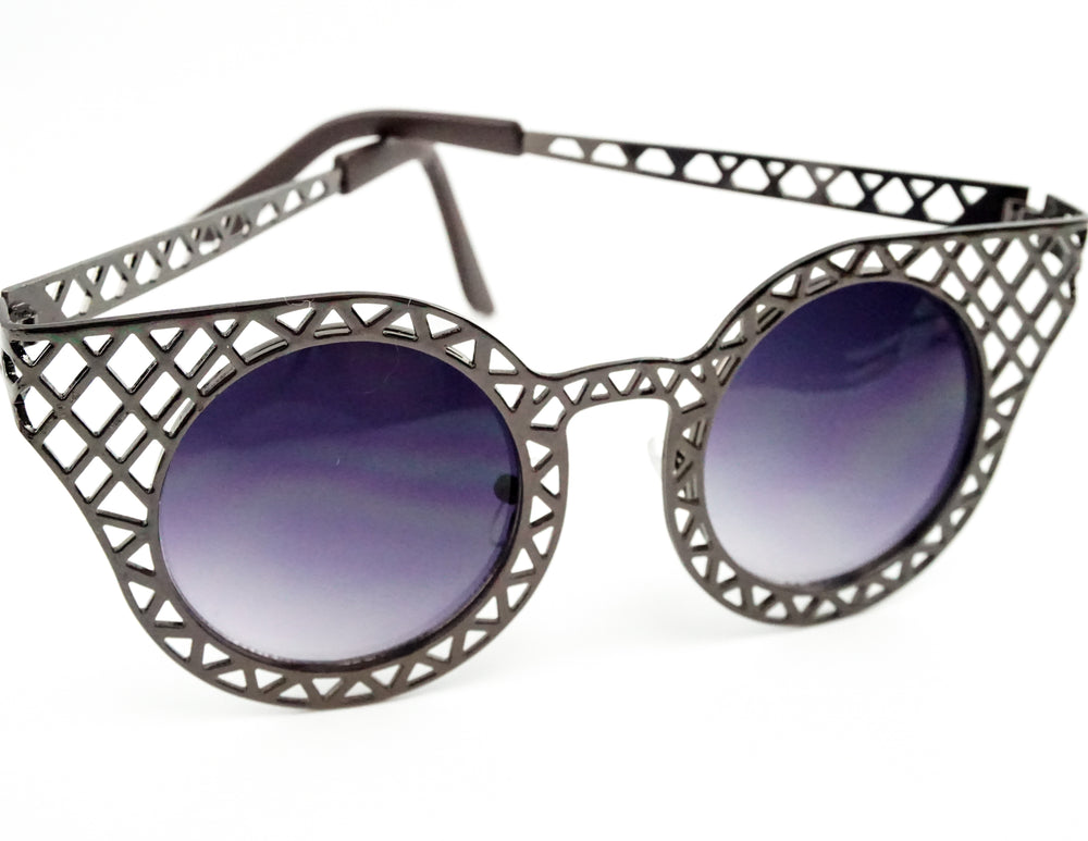 Gunmetal Grey Metallic Ladies Sunglasses with Dark Grey Lenses