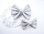 Grey and Metallic Silver Heart Printed Medium Fabric Hair Bow