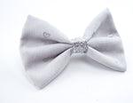 Grey and Metallic Silver Heart Printed Small Fabric Hair Bow