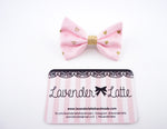 Pink and Metallic Gold Heart Print Small Fabric Hair Bow