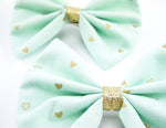 Pastel Mint and Metallic Gold Heart Print Medium Fabric Hair Bow