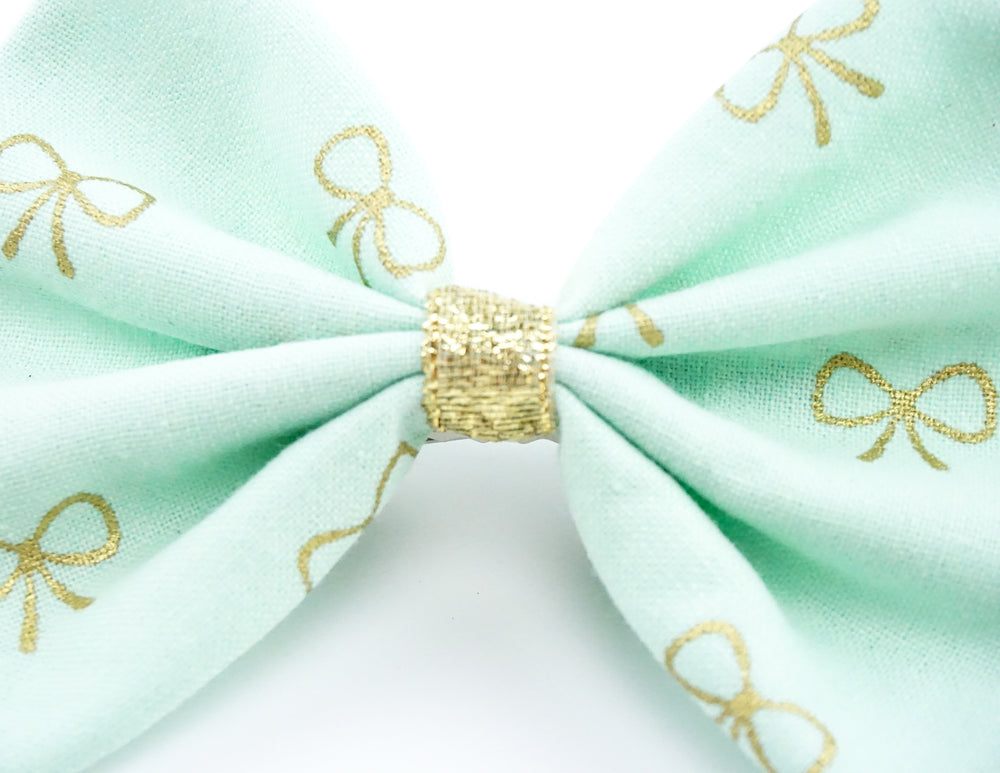 Pastel Mint and Metallic Gold Bow Print Medium Fabric Hair Bow