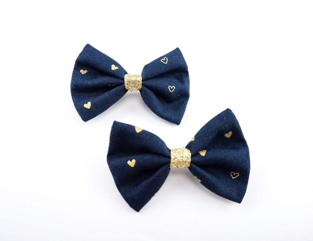 Navy and Metallic Gold Heart Print Small Fabric Hair Bow