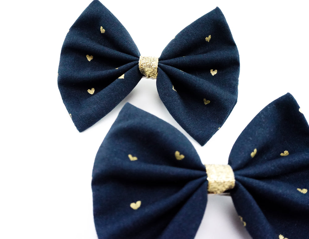 Navy and Metallic Gold Heart Print Medium Fabric Hair Bow