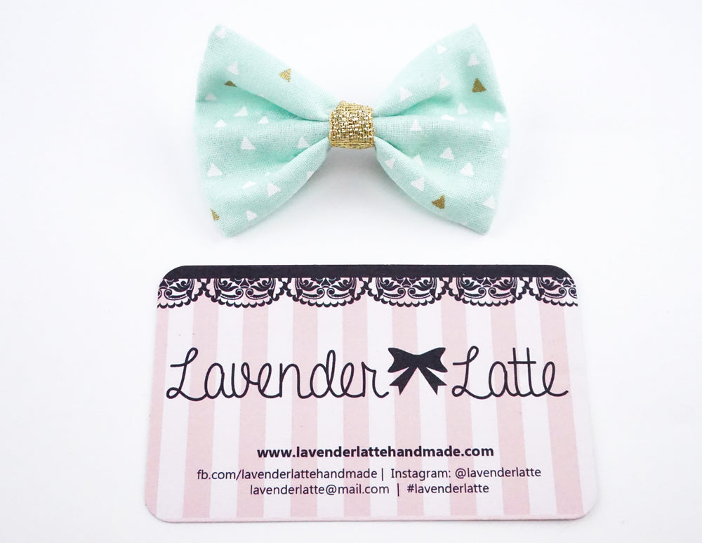 Pastel Mint and Metallic Gold Triangle Geometric Print Small Fabric Hair Bow