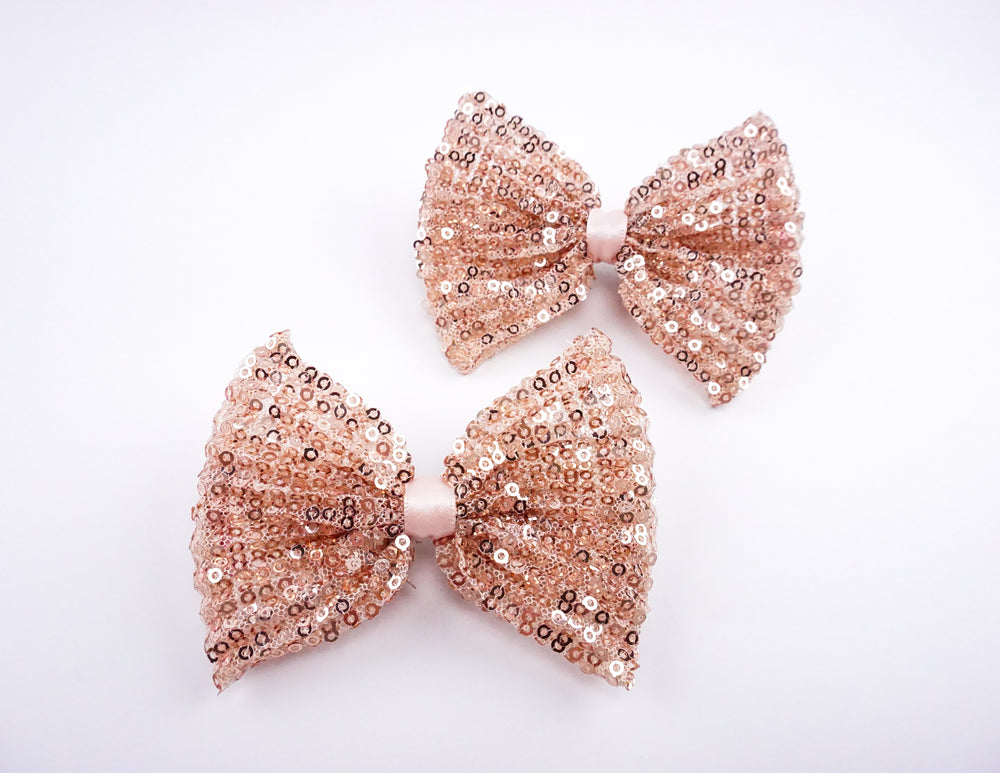 Rose Gold Metallic Sequined Medium Fabric Hair Bow - Sparkly Hair Clip