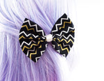 Black and Metallic Silver and Gold Chevron Geometric Print Medium Fabric Hair Bow